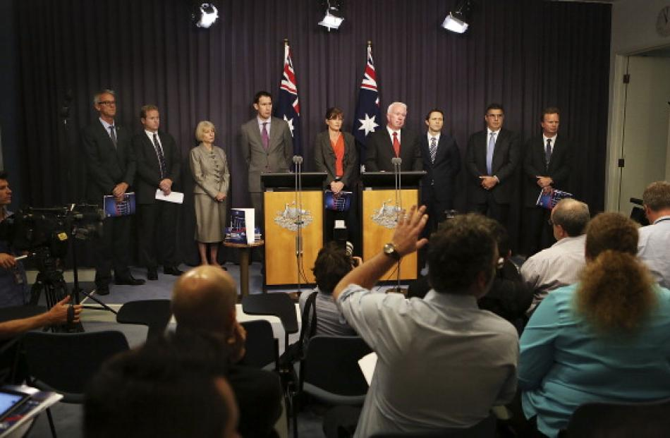 Chiefs of Australian sporting codes, Sports Minister Kate Lundy, ASADA CEO Aurora Andruska,...