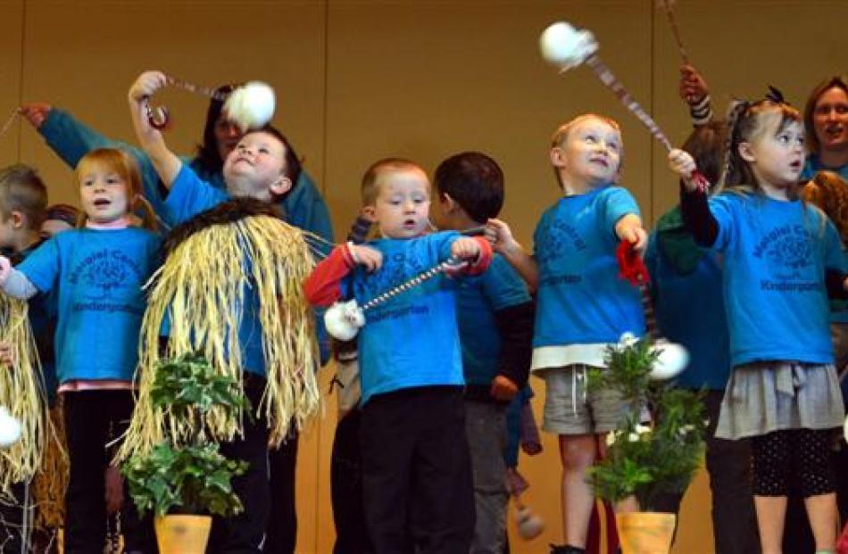 Children from Mosgiel Central Kindergarten perform a poi dance at the Taieri Schools Kaupapa...