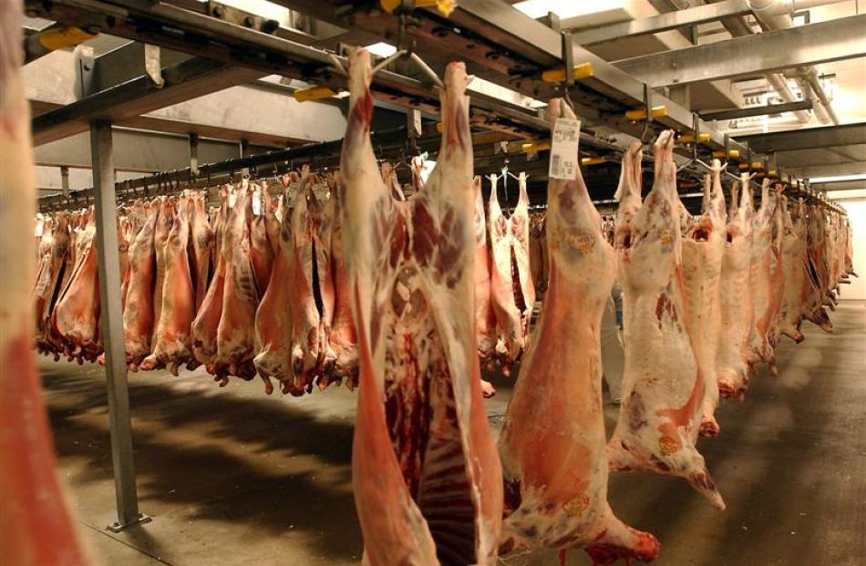 Chillers full of lamb carcasses for processing, in past times, at Silver Fern Farms' Silverstream...