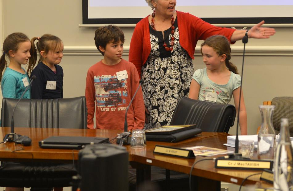 Christine Garey and children from Broad Bay School make their arguments in favour of a new cycle...