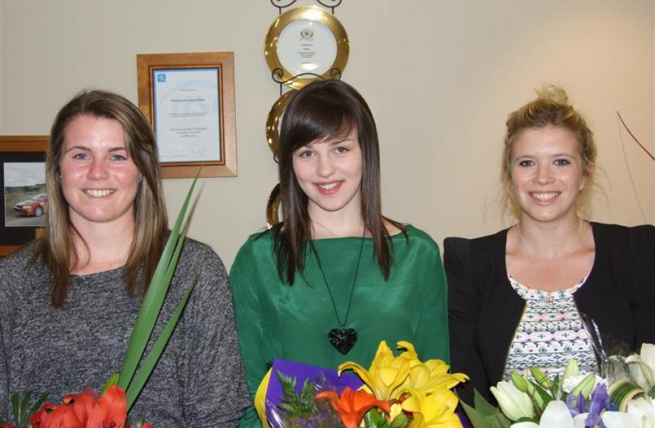 Clutha District Health 2013 Scholarship recipients (from left)  Ashleigh White (18), of Tapanui,...