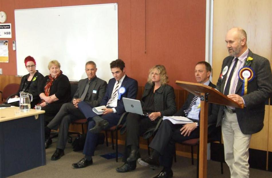 Clutha-Southland candidates at yesterday's election meeting in Queenstown are (from left) Rachael...