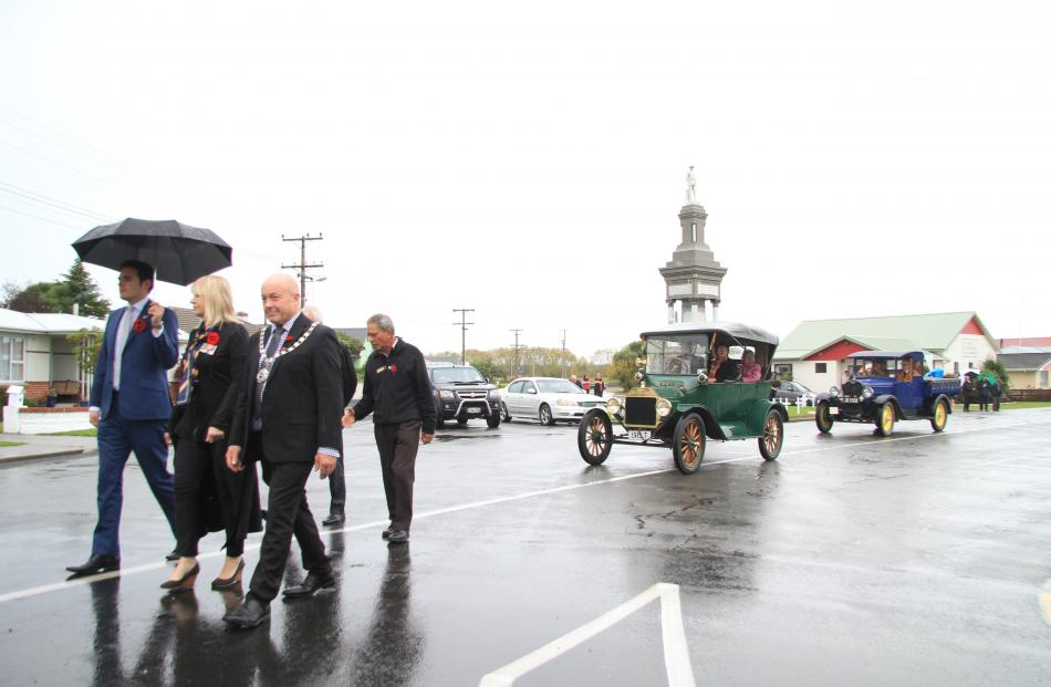 Clutha-Southland MP Todd Barclay, left, Otago Southland RSA president Jenepher Glover and Clutha...