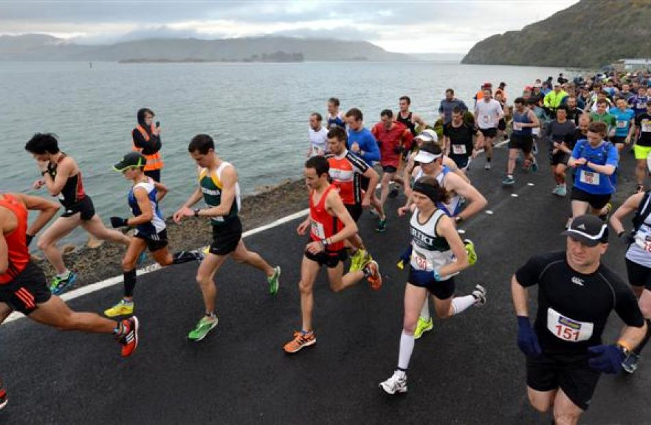 Competitors get off the mark at Harington Point yesterday morning.