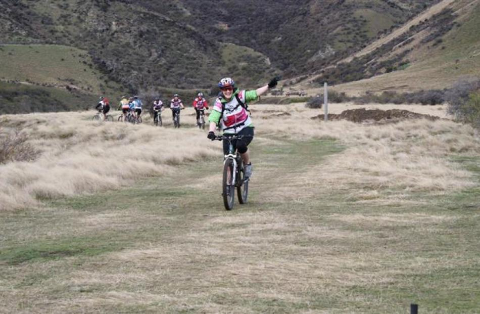 Competitors in the 2013 Spring Challenge navigate Rabbit Ridge trails. The Gibbston mountain...