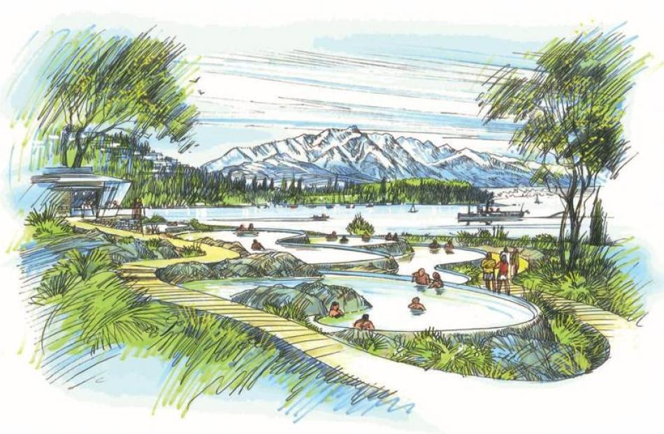 Concept drawings of the possible Ngai Tahu hot pools development, looking towards the Remarkables...