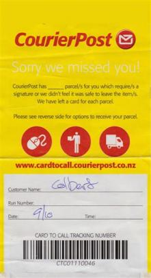 CourierPost's ''Sorry we missed you!'' card.  Photo by Roy Colbert.