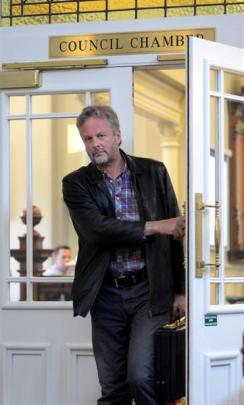 Cr Lee Vandervis leaves yesterday's Dunedin City Council meeting after being asked to make a '...