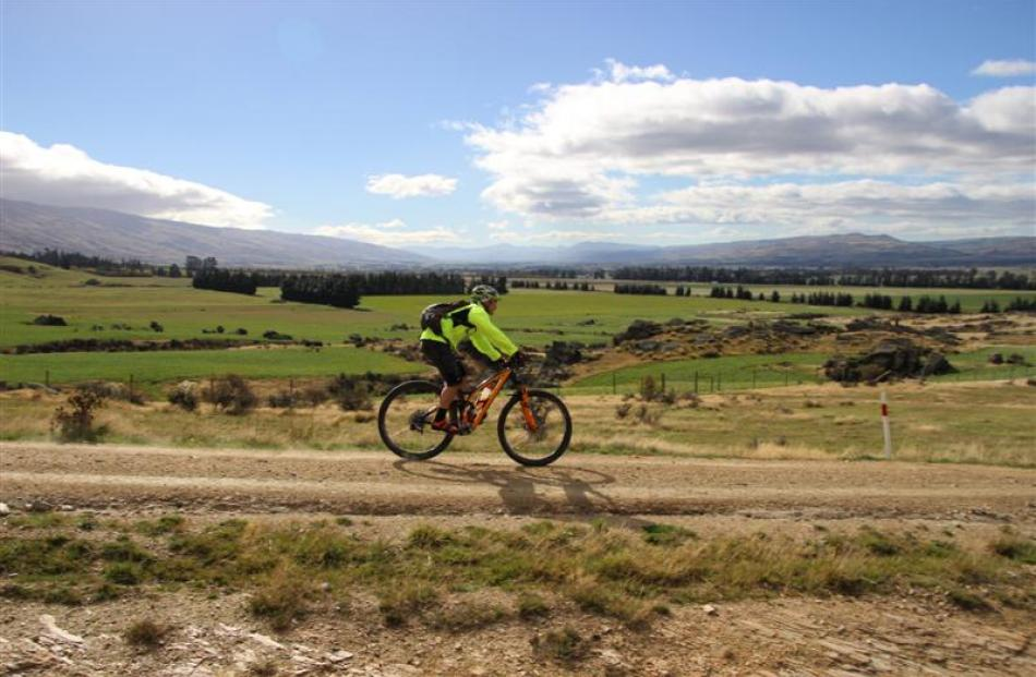 Craig Bates takes part in the Mountain to Middlemarch Mountain Bike Ride last month. Photos by...