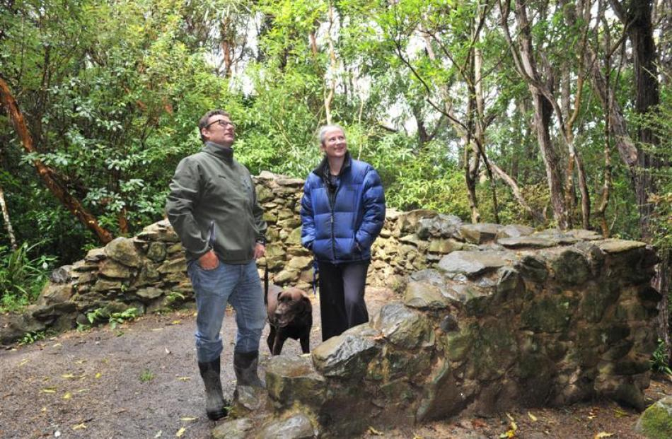 Craigeburn project manager Paul Pope, his dog Toby, and Toitu Otago Settlers Museum educator Sara...