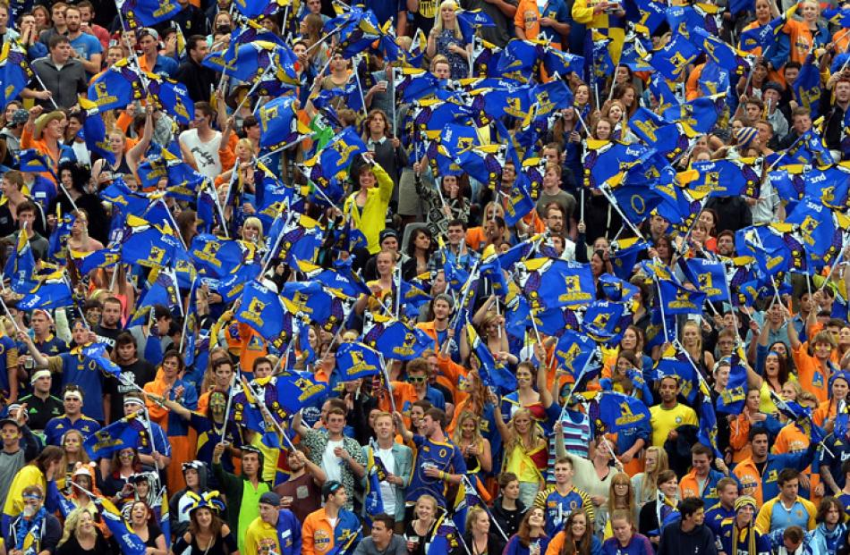 The crowd at the Forsyth Barr Stadium on Saturday night.