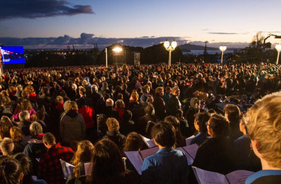 Crowds gather at the Anzac Day dawn service at the Auckland War Memorial Museum. Photo / New...