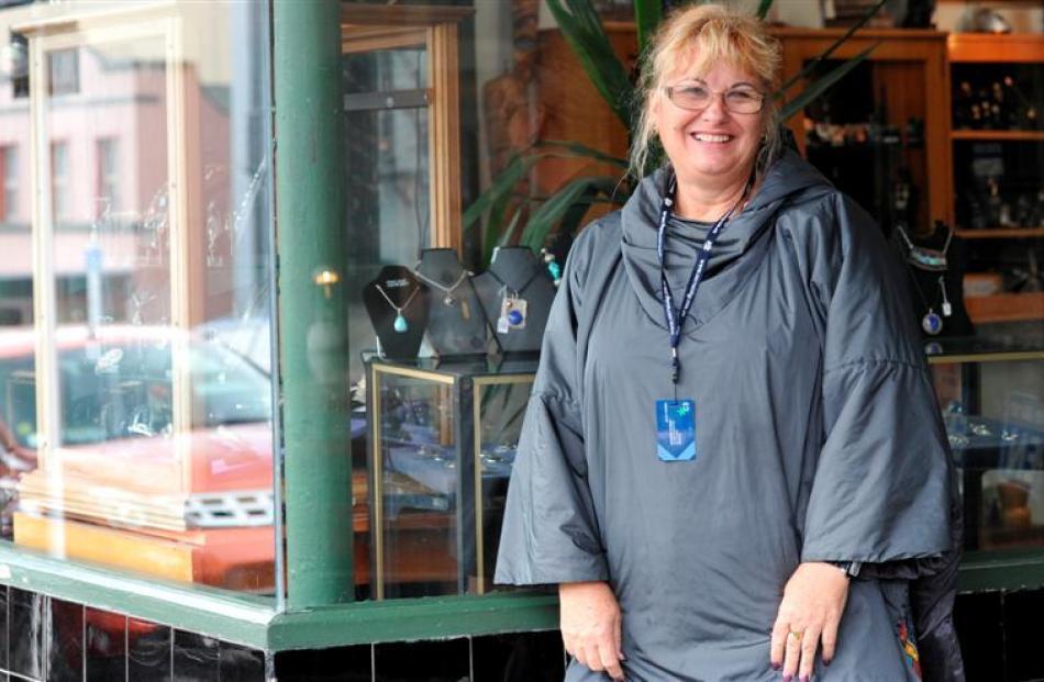 Cruise ship passenger Sue Hansen, of Queensland, in Port Chalmers yesterday.