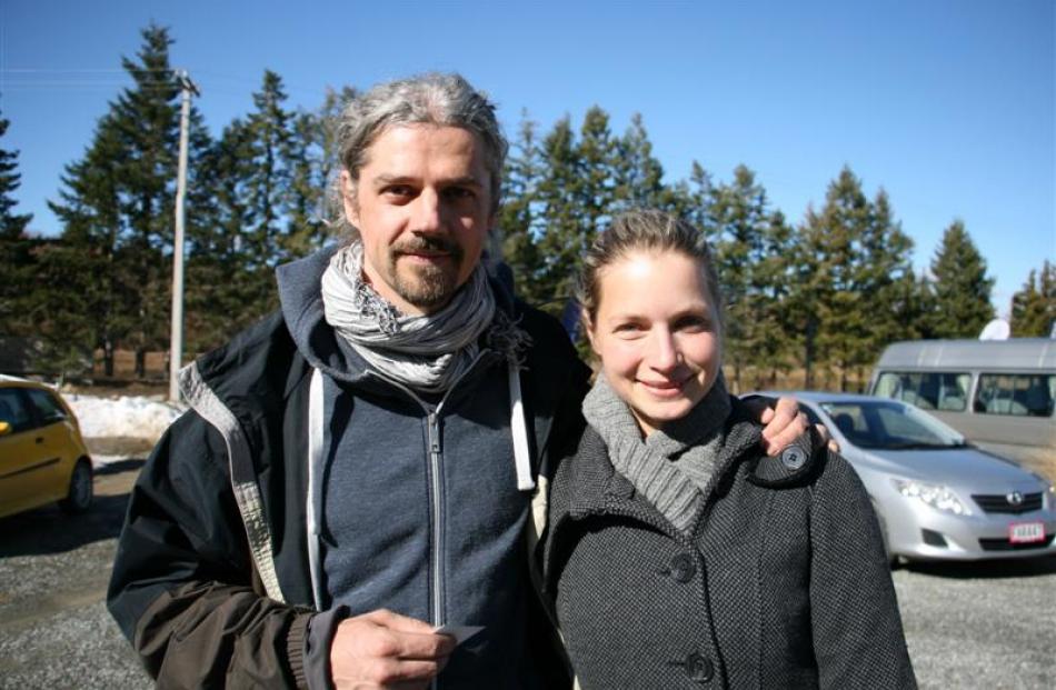 Czech Republic's Ondrej Mihola and Jana Jelinkova (left) sightseeing between games yesterday....