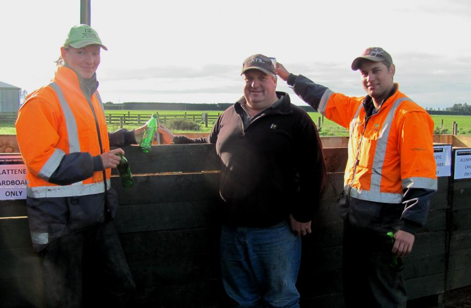 Dairy workers Lisa Oehlert, of Germany, and Alan Da Veiga (right), of Brazil,  join Ashburton...