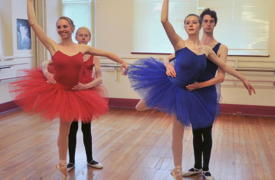 Dancers (from left) Kate Waterman (21), Oscar Holmes (16), Caroline Burchell (15) and Alexander...