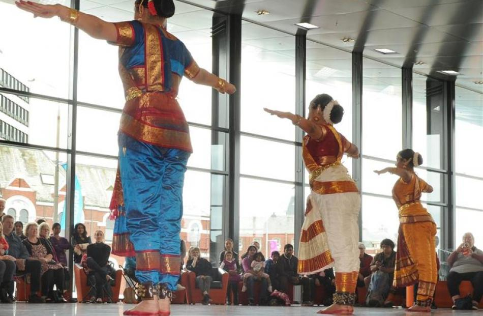 Dancers from the Natyaloka School of Indian Classical Dance perform during the opening weekend of...