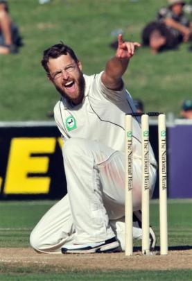 Daniel Vettori appeals unsuccessfully for  the wicket of West Indies batsman Chris Gayle during...