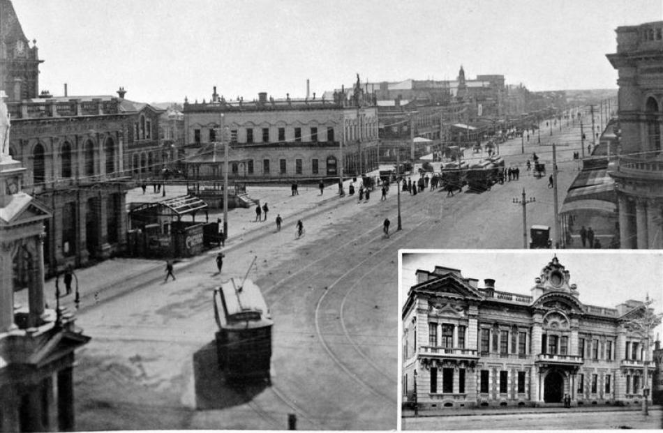 Dee St, Invercargill, from the Bank of New Zealand, with the Town Hall and Municipal Theatre...