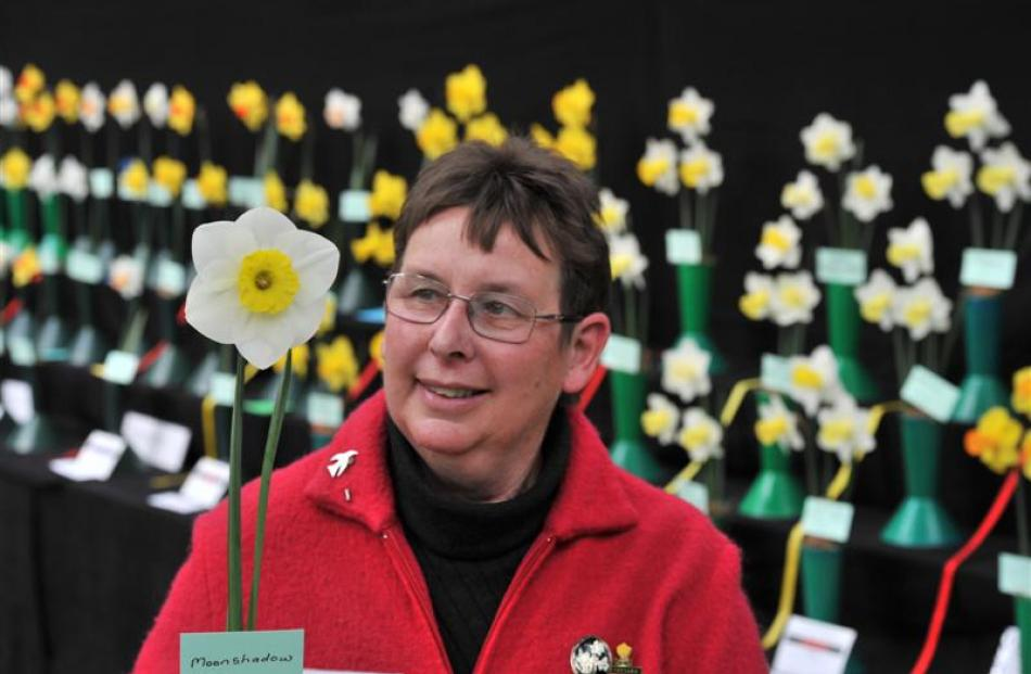 Denise McQuarrie with her winning bloom, Moonshadow, at the World Daffodil Convention 2012 in...
