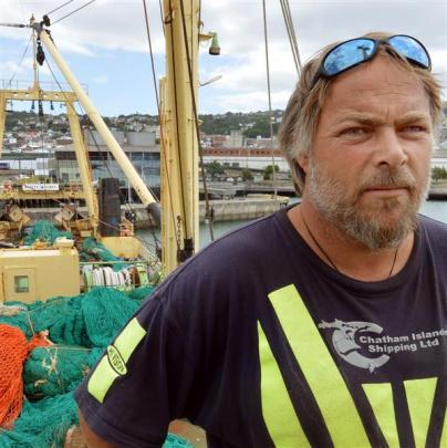 Dennis Nisbet takes a break from  working on  Melilla 201, which has been berthed in Dunedin for...