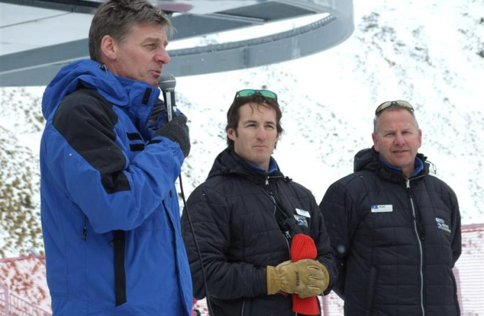 Deputy prime minister Bill English speaks at the official opening of a new chairlift at The...