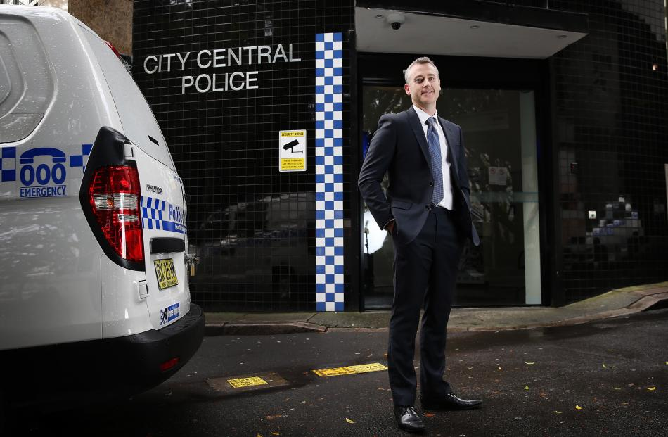 Detective Sergeant Jeffrey White outside of City Central Police Station in Sydney. White foiled...
