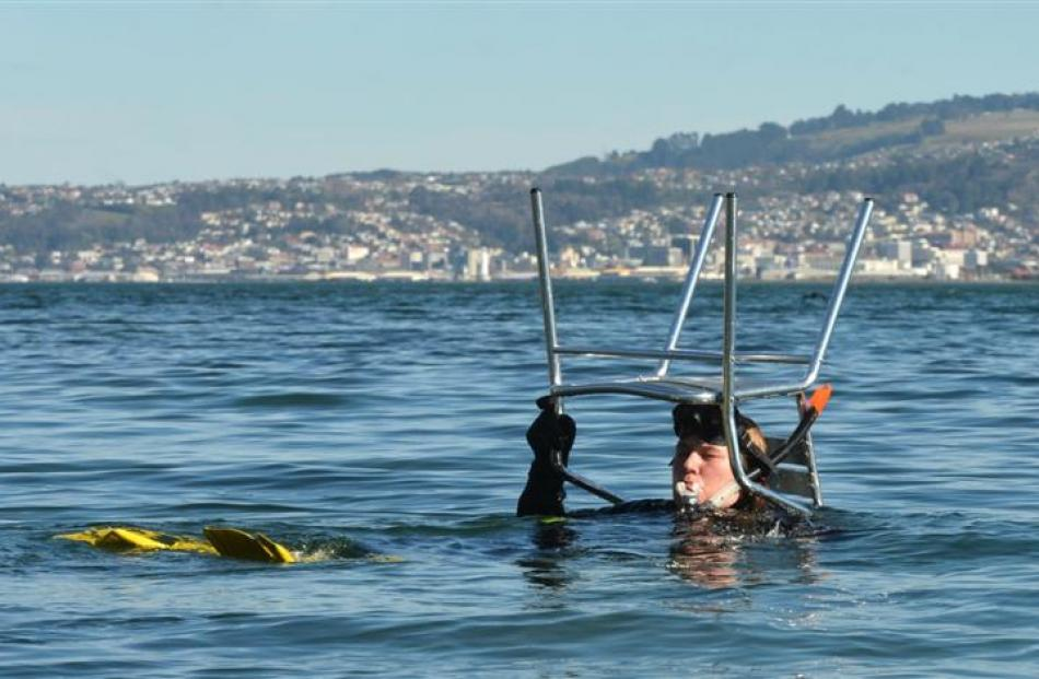 Dive Otago instructor Kelly Boal salvages a chair from  Macandrew Bay yesterday. Photo by Stephen...