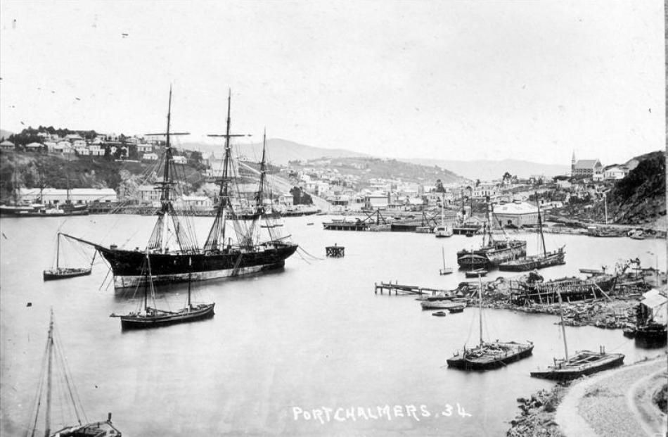 Don Juan at anchor in Port Chalmers about 1875, before being broken up and left to rot at Deborah...