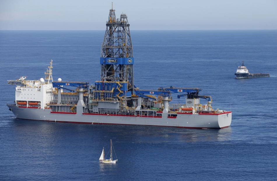 Drilling ship Noble Bob Douglas 160km off Raglan, on the west coast of the North Island, where it...
