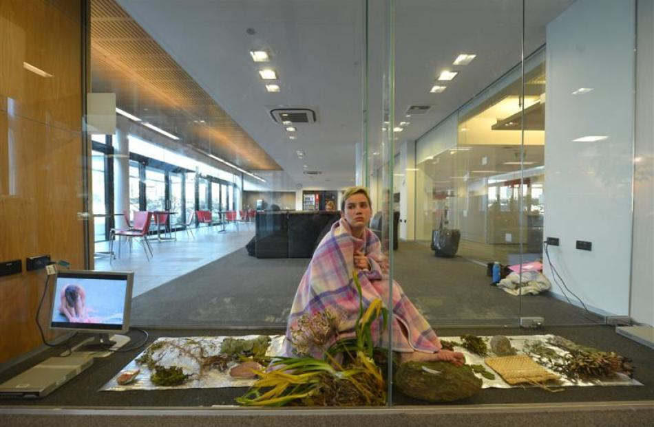 Dunedin artist Hana Aoake in her installation Pania;;;Parahitiki  at V-Space in the University of...