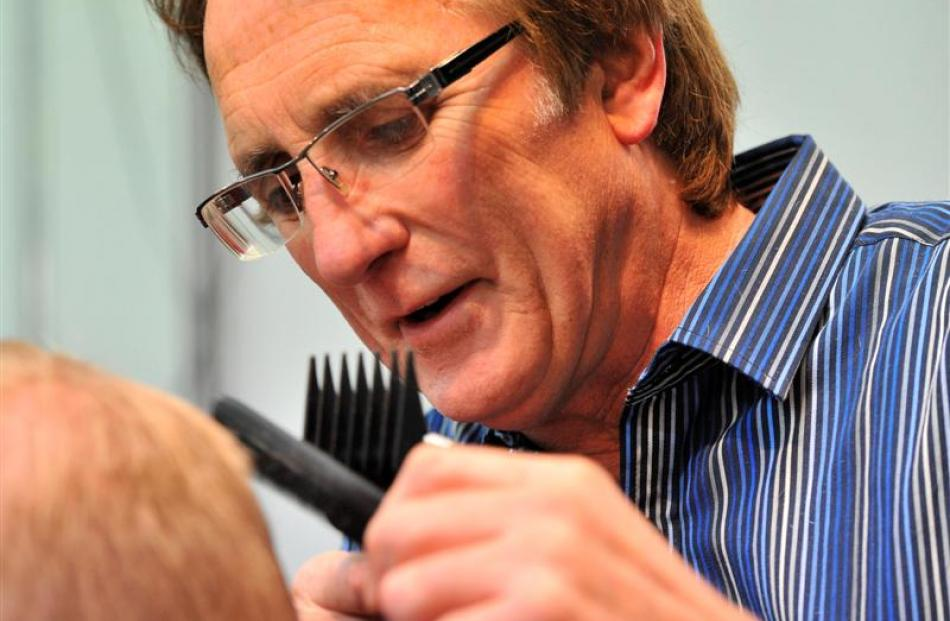 Dunedin barber Michael Shanks in his shop yesterday. Photo by Craig Baxter.
