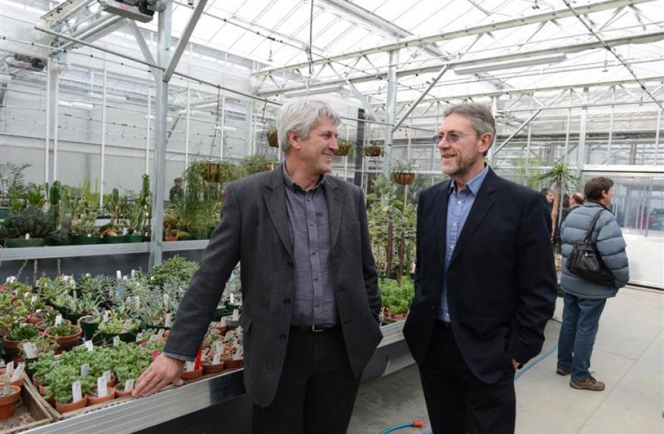 Dunedin Botanic Garden curator and team leader Alan Matchett (left) and former Dunedin City...