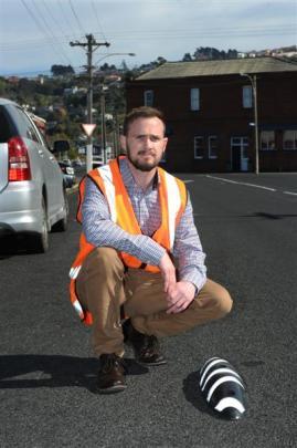 Dunedin City Council contracts engineer Kieran Trainor in Richardson St, St Kilda, where ''zebra...