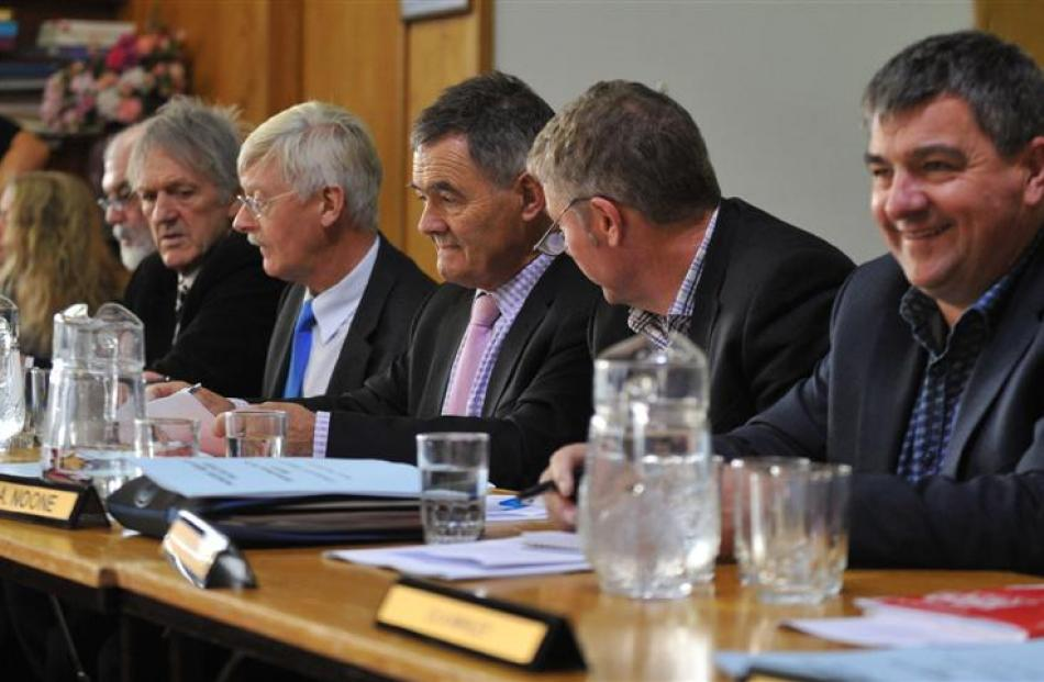 Dunedin City Councillors, from left, Hillary Calvert, Doug Hall, John Bezett, Chris Staynes,...