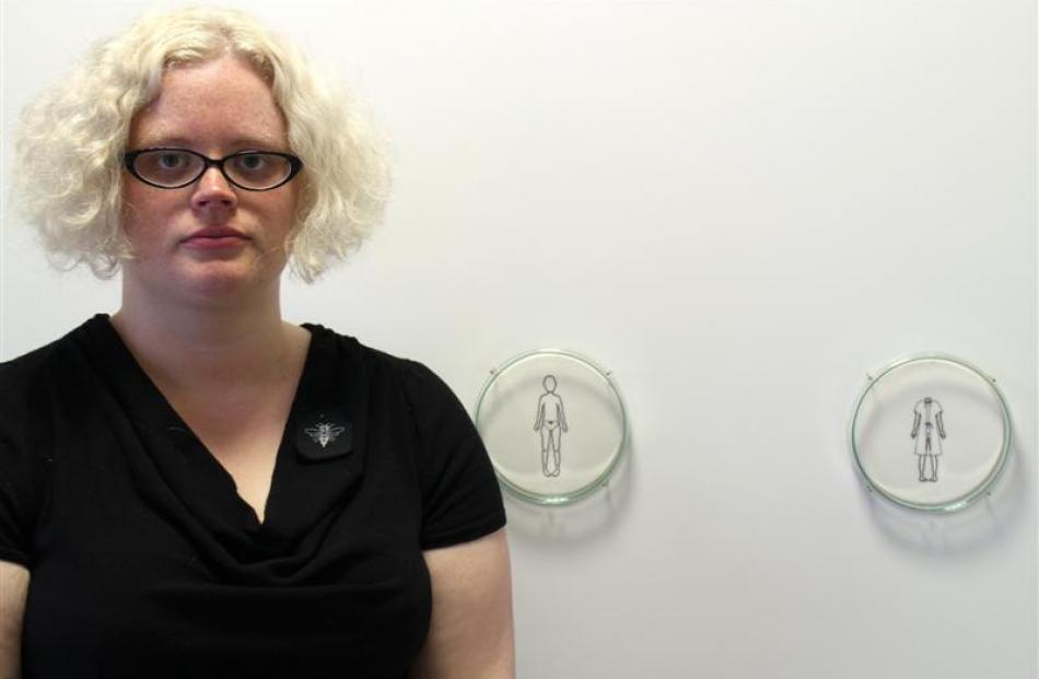 Dunedin contemporary jeweller and object maker Chelsea Johnson with her work sampler:specimen,...