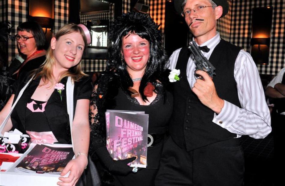 Dunedin Fringe Festival event assistant Lena Plaksina (left), festival club MC Tahu Mackenzie and...