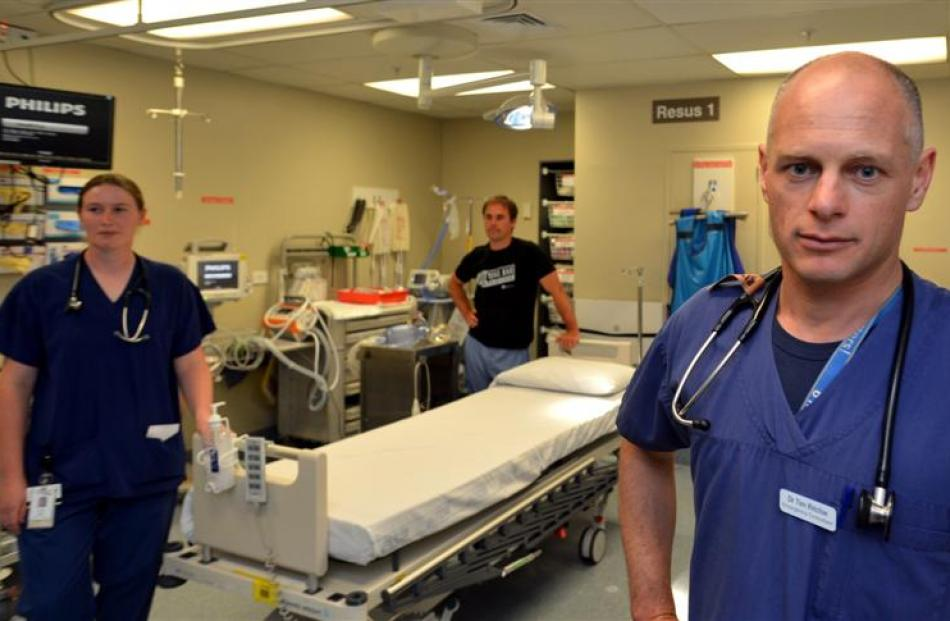 Dunedin Hospital emergency department staff (from left) Dr Nic Millar, Mike O'Brien, and Dr Tim...
