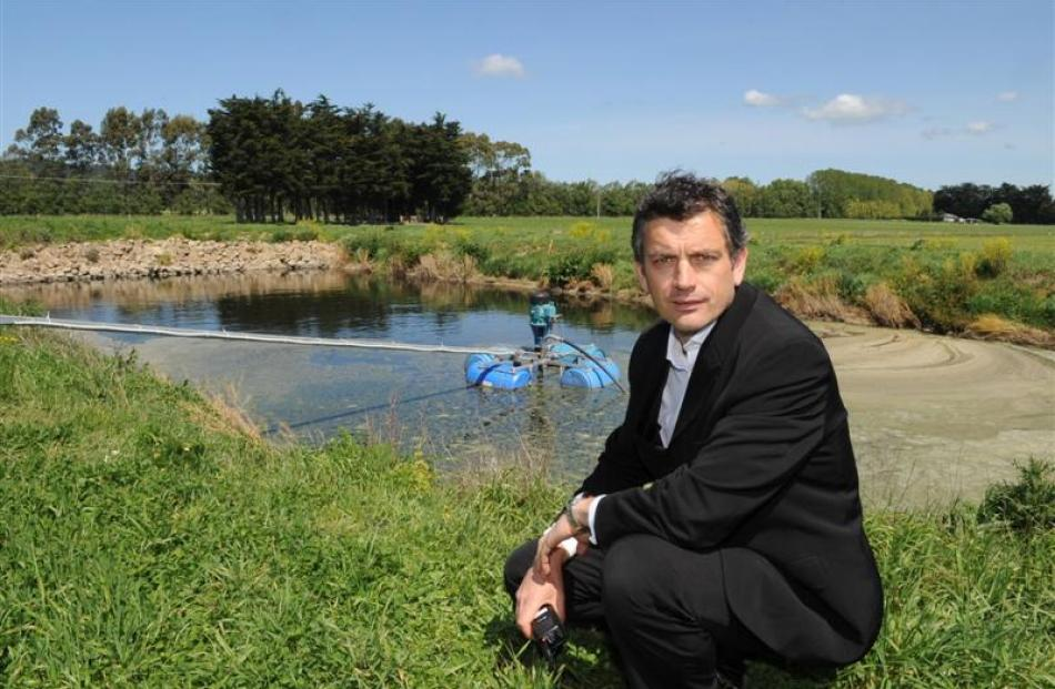 Dunedin International Airport operations manager Richard Roberts at the effluent pond on the...