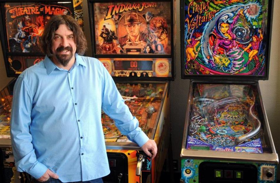 Dunedin magician Jonathan Usher collects pinball machines he enjoyed playing as a child. Photos...