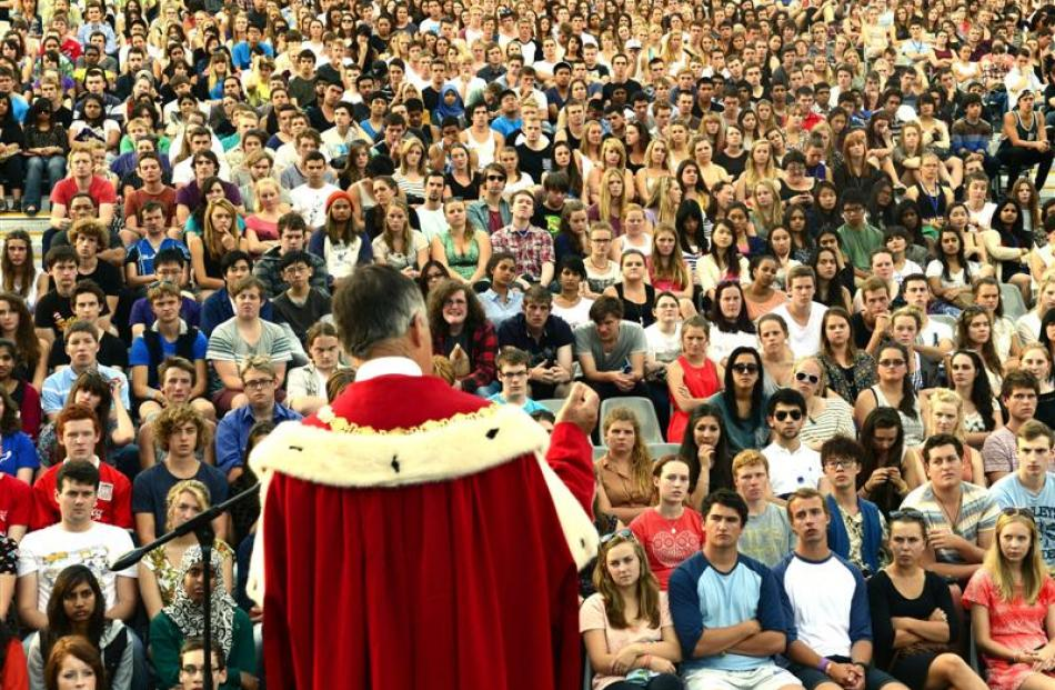 Dunedin Mayor Dave Cull welcomes thousands of first year students to the University of Otago at...