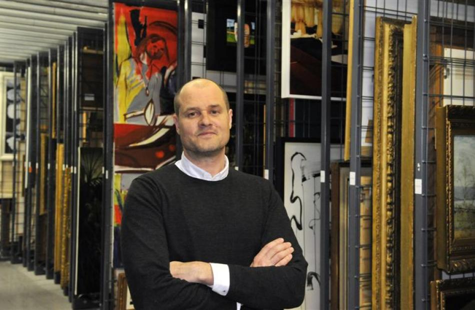 Dunedin Public Art Gallery director Cam McCracken in the heart of the gallery  collection...