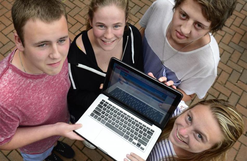 Dunedin pupils Michael Fox (17, left), and Elliot Munro (16), both of Otago Boys High School, and...