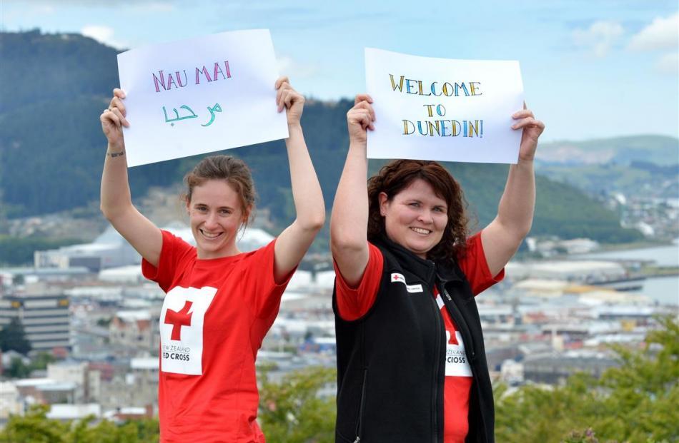Dunedin Red Cross staff members Leisa de Klerk (left) and Janine Sharp are readying the welcome...