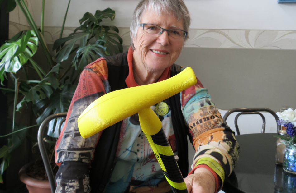 Dunedin resident Dr Lynley Hood displays the handle of her ...