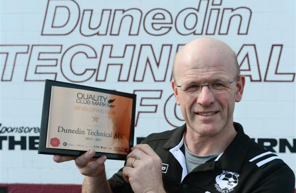 Dunedin Technical acting president Andrew Whittaker with the quality club mark at Culling Park...