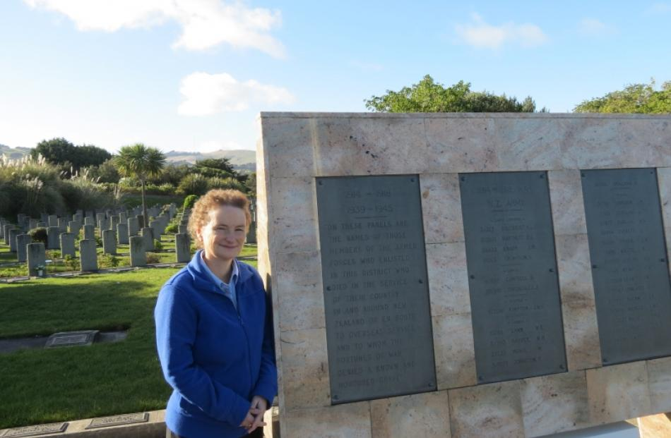 Dunedin woman Heather Bray visits a  war memorial panel at Andersons Bay Cemetery dedicated to...