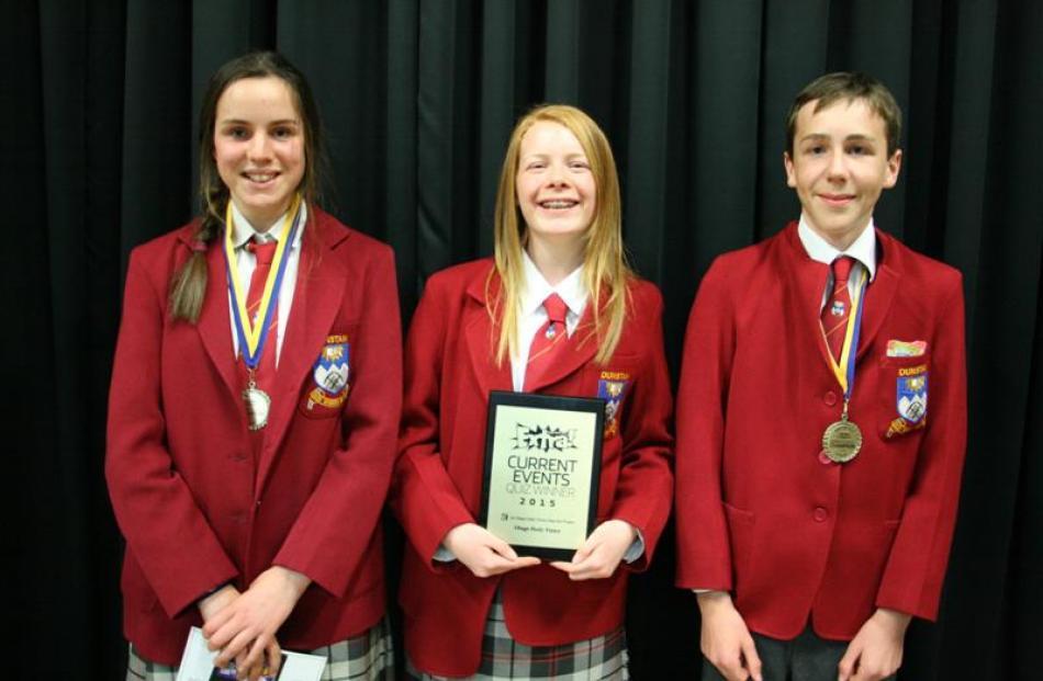 Dunstan 6 (from left) Hannah Heyward, Gabrielle Tohill, and Ben Mullally strike a winning pose....