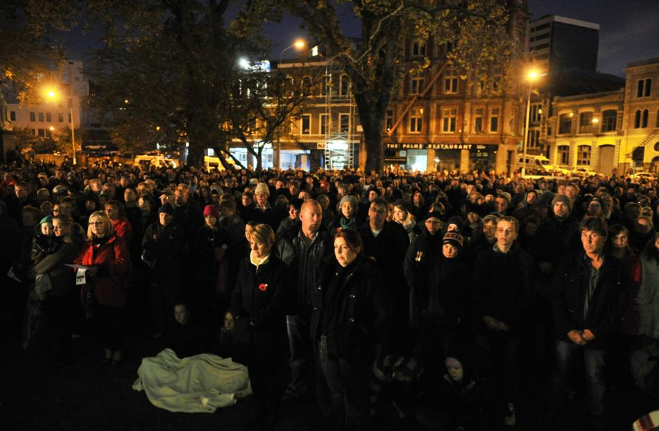 Part of the large crowd at yesterday morning's Anzac dawn service at the Cenotaph in Dunedin.