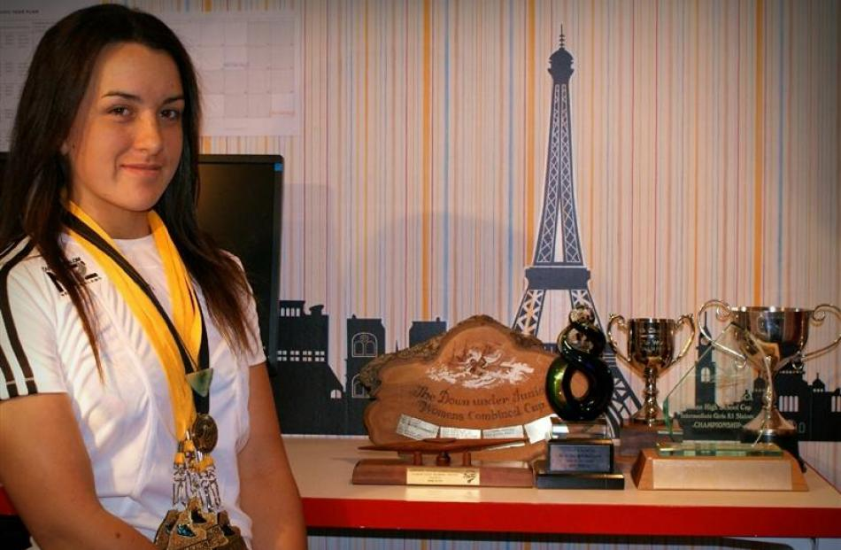 Earnscleugh teen Kensa Randle (15) with some of the gold medals and trophies she recently won...